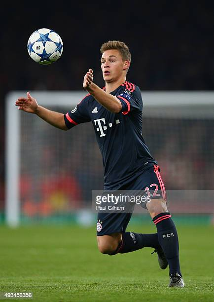 Joshua Kimmich of Bayern Munich in action during the UEFA Champions League Group F match between Arsenal FC and FC Bayern Munchen at Emirates Stadium...