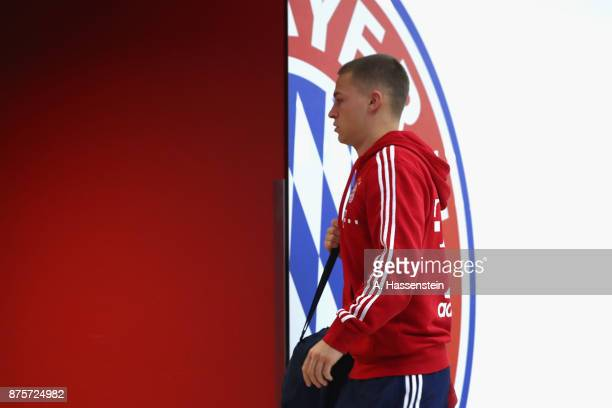 Joshua Kimmich of FC Bayern Muenchen arrives for the Bundesliga match between FC Bayern Muenchen and FC Augsburg at Allianz Arena on November 18 2017...