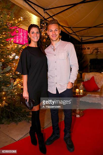 Joshua Kimmich of FC Bayern Muenchen attends with Lina Meyer the club's Christmas party at H'ugo's bar on December 10 2016 in Munich Germany