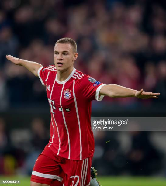 Joshua Kimmich of FC Bayern Muenchen celebrates after scoring his team's second goal during the UEFA Champions League group B match between Bayern...