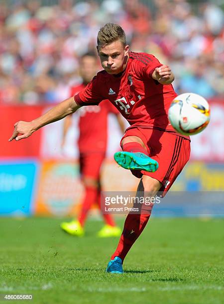 Joshua Kimmich of FC Bayern Muenchen in action during a friendly match between Fanclub Red Power and FC Bayern Muenchen on August 30 2015 in...