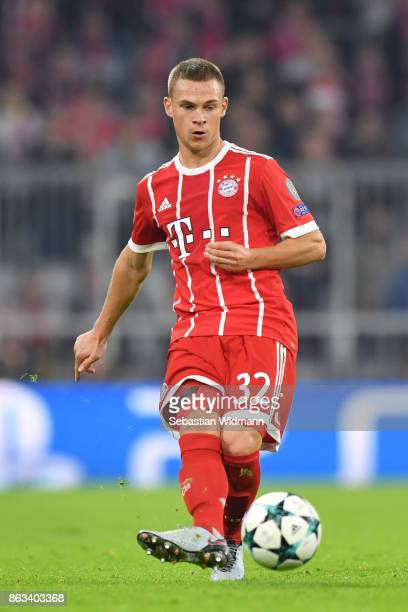 Joshua Kimmich of FC Bayern Muenchen plays the ball during the UEFA Champions League group B match between Bayern Muenchen and Celtic FC at Allianz...