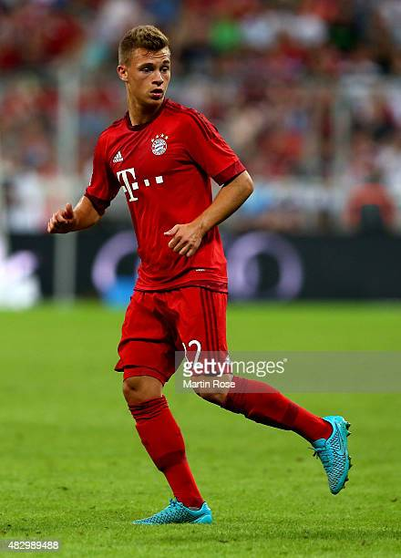 Joshua Kimmich of FC Bayern Muenchen reacts during the Audi Cup 2015 match between FC Bayern Muenchen and AC Milan at Allianz Arena on August 4 2015...