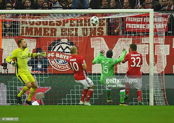 Joshua Kimmich of FC Bayern Muenchen scores his team's second goal during the UEFA Champions League match between FC Bayern Muenchen and PSV...