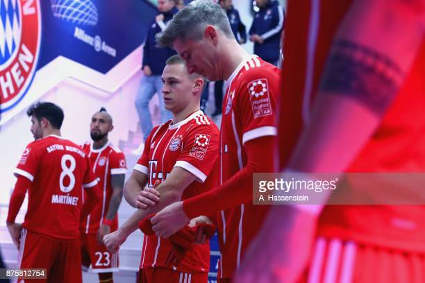 Joshua Kimmich of FC Bayern Muenchen wait at the players tunnel to enter the field of play for the Bundesliga match between FC Bayern Muenchen and FC...