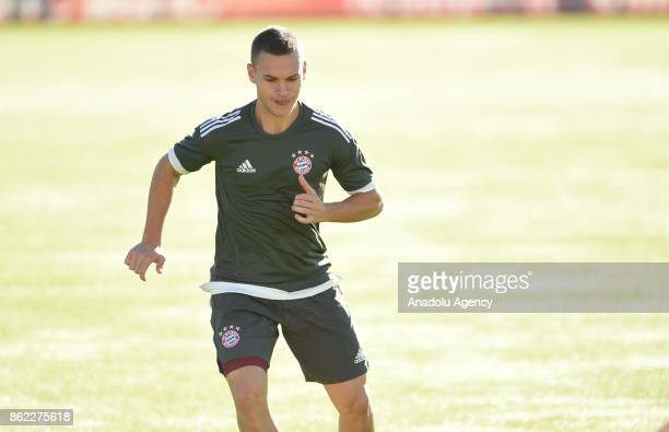Joshua Kimmich of FC Bayern Munich attends a training session ahead of the Champions League group B match between Bayern Munich and Celtic Glasgow at...