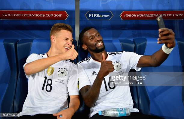 Joshua Kimmich of Germany and Antonio Ruediger of Germany take a selfie photograph together after the FIFA Confederations Cup Russia 2017 Final...