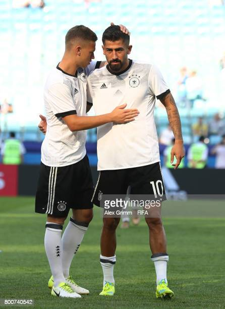 Joshua Kimmich of Germany and Kerem Demirbay of Germany speak as they warm up prior to the FIFA Confederations Cup Russia 2017 Group B match between...