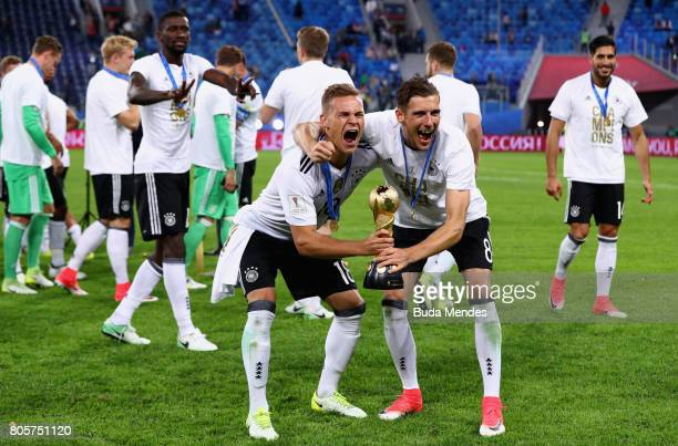 Joshua Kimmich of Germany and Leon Goretzka of Germany celebrate with the trophy after the FIFA Confederations Cup Russia 2017 Final between Chile...