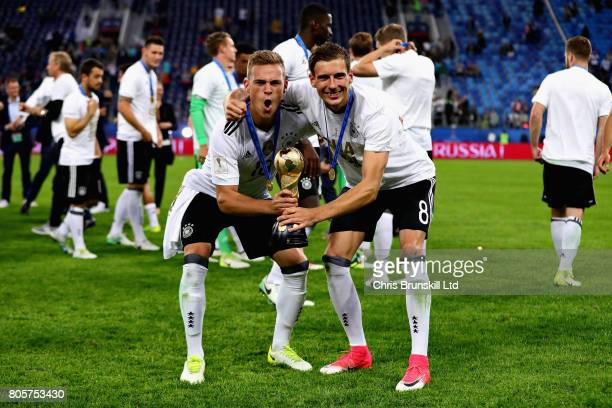 Joshua Kimmich of Germany and Leon Goretzka of Germany celebrate with the trophy after the FIFA Confederations Cup Russia 2017 Final match between...