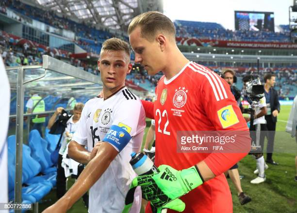 Joshua Kimmich of Germany and MarcAndre ter Stegen of Germany speak after the FIFA Confederations Cup Russia 2017 Group B match between Germany and...