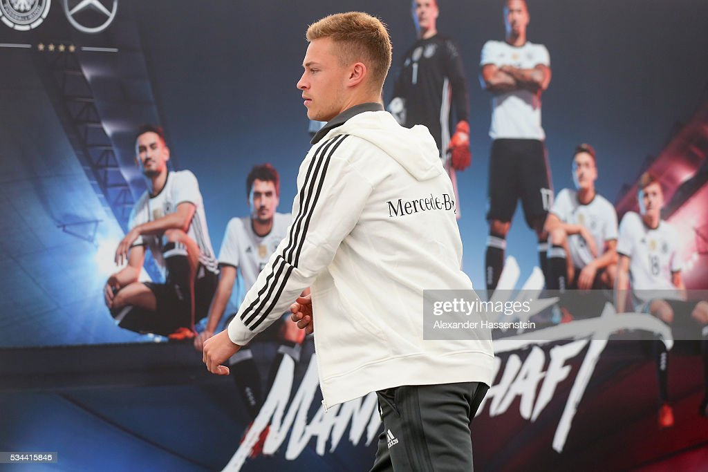<a gi-track='captionPersonalityLinkClicked' href=/galleries/search?phrase=Joshua+Kimmich&family=editorial&specificpeople=9479434 ng-click='$event.stopPropagation()'>Joshua Kimmich</a> of Germany arrives for a press conference on day 3 of the German national team trainings camp on May 26, 2016 in Ascona, Switzerland.
