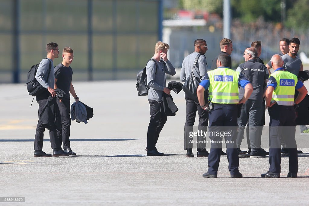 <a gi-track='captionPersonalityLinkClicked' href=/galleries/search?phrase=Joshua+Kimmich&family=editorial&specificpeople=9479434 ng-click='$event.stopPropagation()'>Joshua Kimmich</a> (2nd L) of Germany arrives with the German national team at Lugano Airport on May 24, 2016 in Ascona, Switzerland.