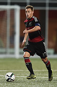 Joshua Kimmich of Germany controls the ball during the 2017 UEFA European U21 Championships Qualifier between U21 Faroe Islands and U21 Germany at...