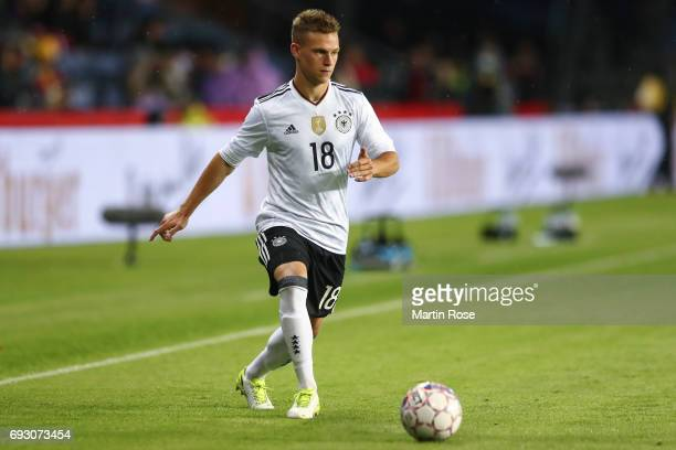 Joshua Kimmich of Germany controls the ball during the international friendly match between Denmark v Germany on June 6 2017 in Brondby Denmark