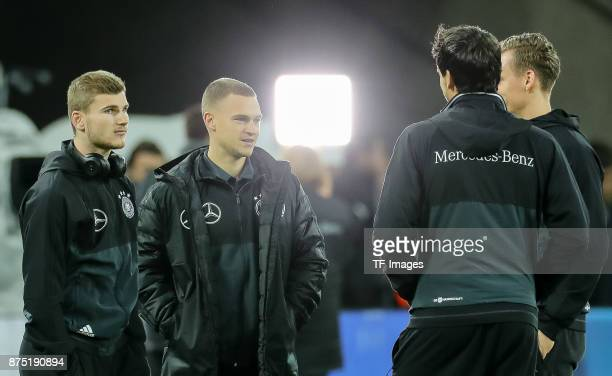 Joshua Kimmich of Germany Goalkeeper Bernd Leno of Germany and Mats Hummels of Germany looks on prior the International friendly match between...