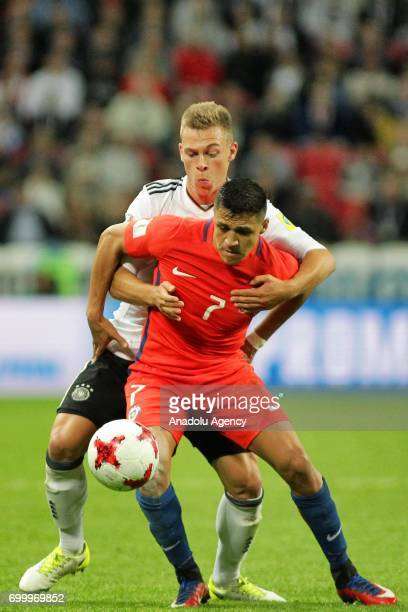 Joshua Kimmich of Germany in action against Alexis Sanchez of Chile during the FIFA Confederations Cup 2017 group B soccer match between Germany and...