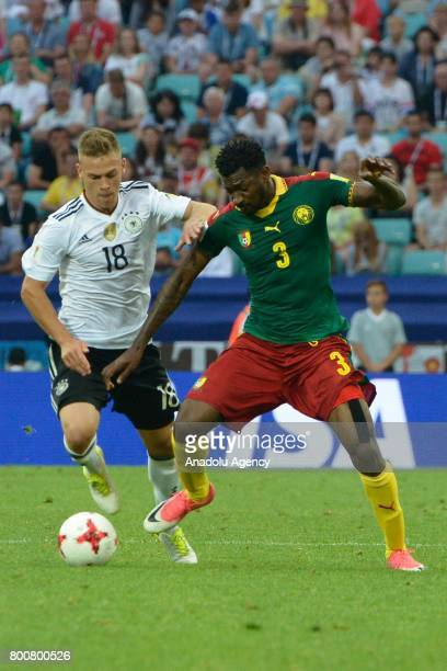 Joshua Kimmich of Germany in action against AndreFrank Zambo Anguissa of Cameroon during the FIFA Confederations Cup 2017 soccer match between...