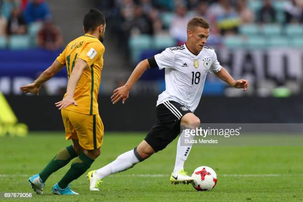 Joshua Kimmich of Germany is put under pressure from Aziz Behich of Australia during the FIFA Confederations Cup Russia 2017 Group B match between...