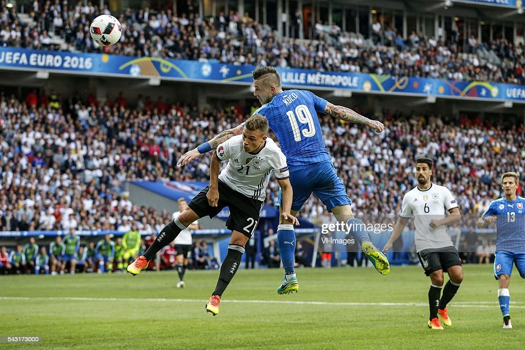 Joshua Kimmich of Germany, Juraj Kucka of Slovakia, Sami Khedira of Germany, Patrik Hrosovky of Slovakia during the UEFA Euro 2016 round of 16 match between Germany and Slovakia on June 26, 2016 at the stade Pierre-Mauloy in Lille, France.