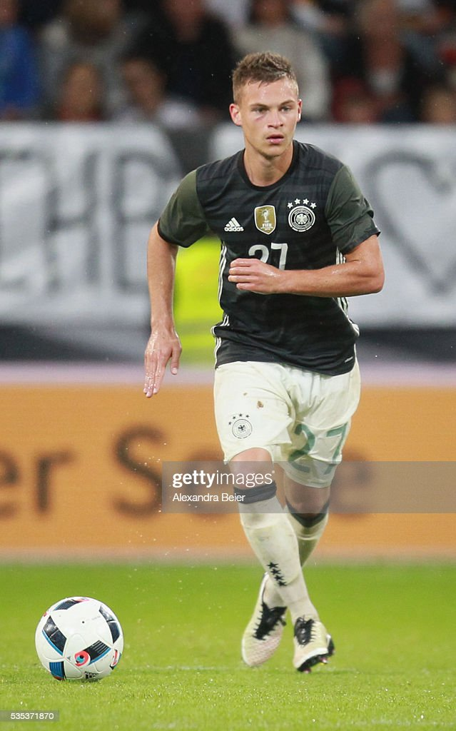 <a gi-track='captionPersonalityLinkClicked' href=/galleries/search?phrase=Joshua+Kimmich&family=editorial&specificpeople=9479434 ng-click='$event.stopPropagation()'>Joshua Kimmich</a> of Germany kicks the ball during the international friendly football match between Germany and Slovakia at WWK-Arena on May 29, 2016 in Augsburg, Germany.