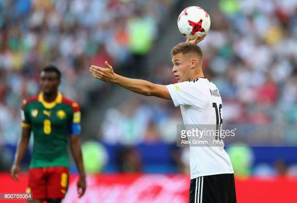Joshua Kimmich of Germany prepares to take a throw in during the FIFA Confederations Cup Russia 2017 Group B match between Germany and Cameroon at...