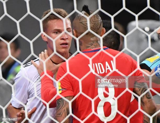 Joshua Kimmich of Germany reacts against Arturo Vidal of Chile during the Confederations Cup 2017 Final match Chile Germany at SaintPetersburg...
