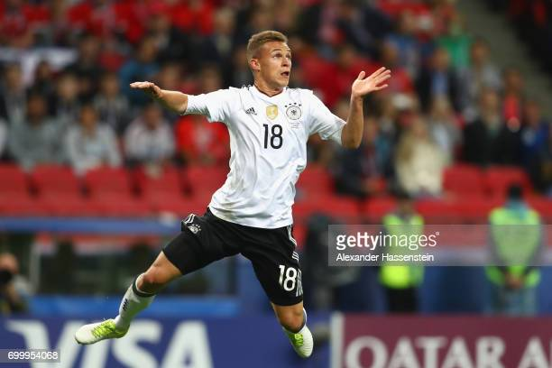 Joshua Kimmich of Germany runs with the ball during the FIFA Confederations Cup Russia 2017 Group B match between Germany and Chile at Kazan Arena on...