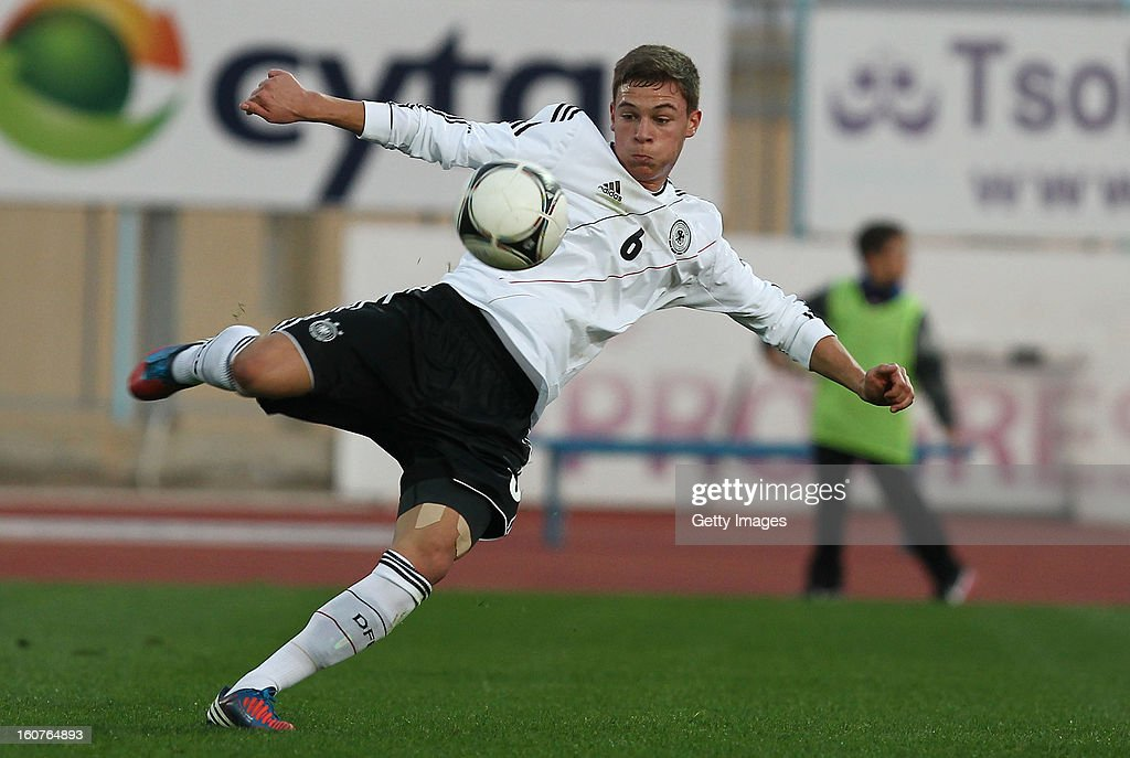 Joshua Kimmich of Germany shoots on goal during the international friendly match between U18 Cyprus and U18 Germany at Stadio Tasos Markou on February 5, 2013 in Paralimni, Cyprus.