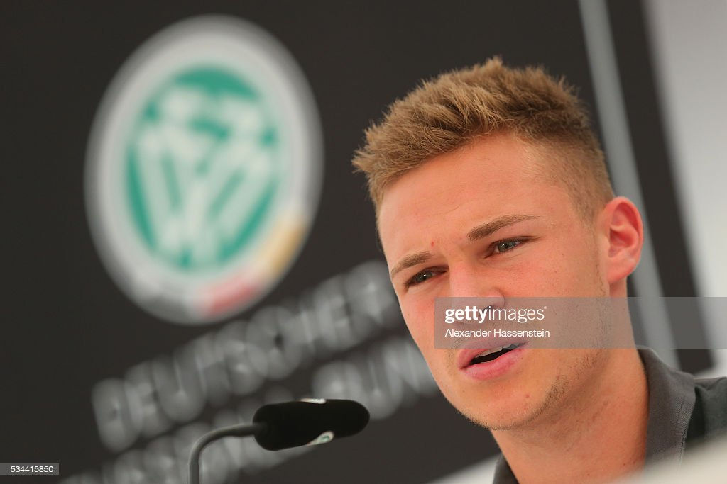<a gi-track='captionPersonalityLinkClicked' href=/galleries/search?phrase=Joshua+Kimmich&family=editorial&specificpeople=9479434 ng-click='$event.stopPropagation()'>Joshua Kimmich</a> of Germany talks to the media during a press conference on day 3 of the German national team trainings camp on May 26, 2016 in Ascona, Switzerland.