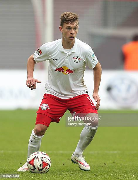 Joshua Kimmich of Leipzig runs with the ball during the Second Bundesliga match between RB Leipzig and FSV Frankfurt at Red Bull Arena on February 15...