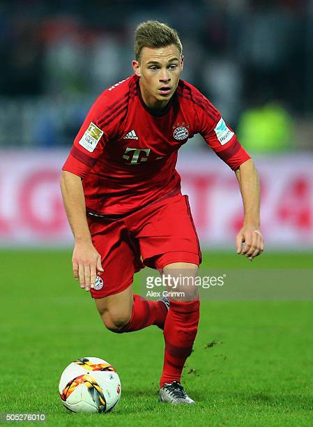 Joshua Kimmich of Muenchen controles the ball during a friendly match between Karlsruher SC and FC Bayern Muenchen at Wildpark Stadium on January 16...