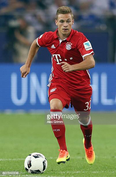 Joshua Kimmich of Muenchen controles the ball during the Bundesliga match between FC Schalke 04 and Bayern Muenchen at VeltinsArena on September 9...