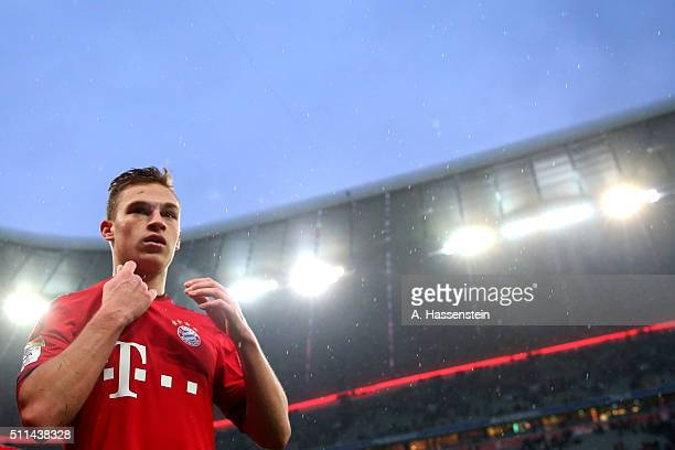 Joshua Kimmich of Muenchen looks on after the Bundesliga match between FC Bayern Muenchen and SV Darmstadt 98 at Allianz Arena on February 20 2016 in...