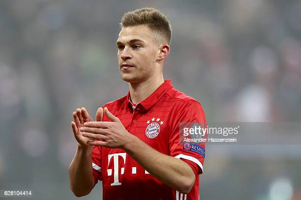 Joshua Kimmich of Muenchen looks on after the UEFA Champions League match between FC Bayern Muenchen and Club Atletico de Madrid at Allianz Arena on...