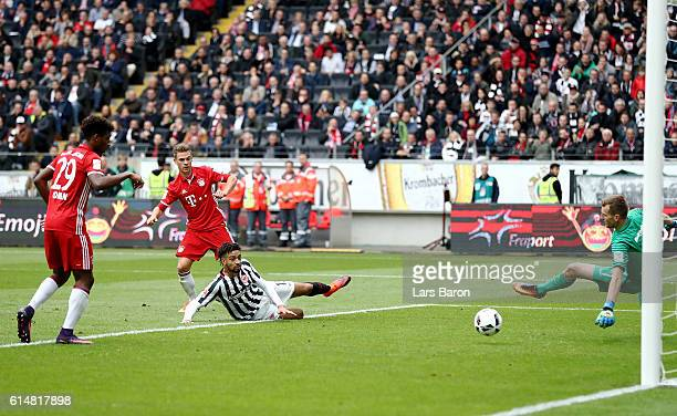 Joshua Kimmich of Muenchen scores the 2nd goal during the Bundesliga match between Eintracht Frankfurt and Bayern Muenchen at CommerzbankArena on...