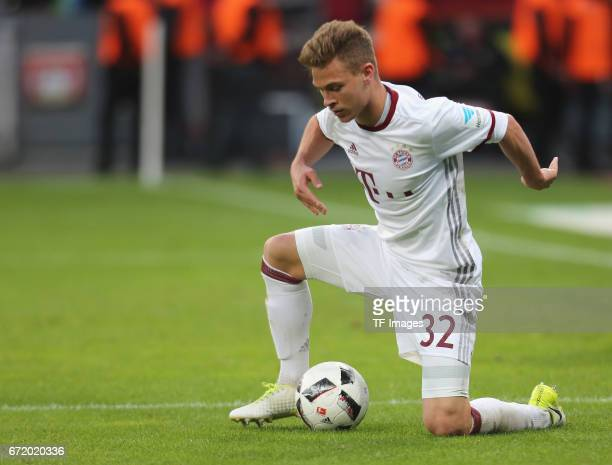 Joshua Kimmich of Munich controls the ball during the Bundesliga match between Bayer 04 Leverkusen and Bayern Muenchen at BayArena on April 15 2017...