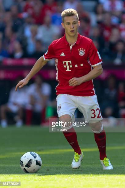 Joshua Kimmich of Munich controls the ball during the Bundesliga match between Bayern Muenchen and SV Darmstadt 98 at Allianz Arena on May 6 2017 in...