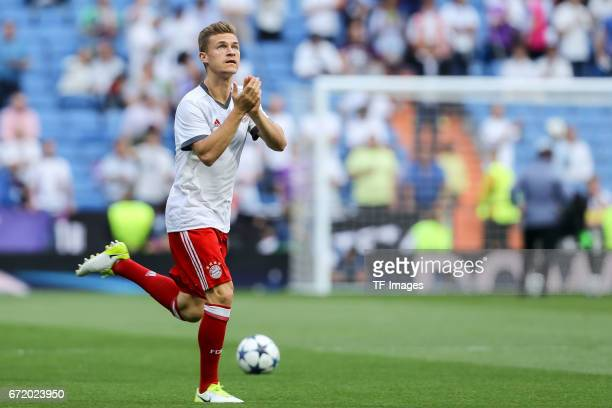 Joshua Kimmich of Munich gestures during the UEFA Champions League Quarter Final second leg match between Real Madrid CF and FC Bayern Muenchen at...