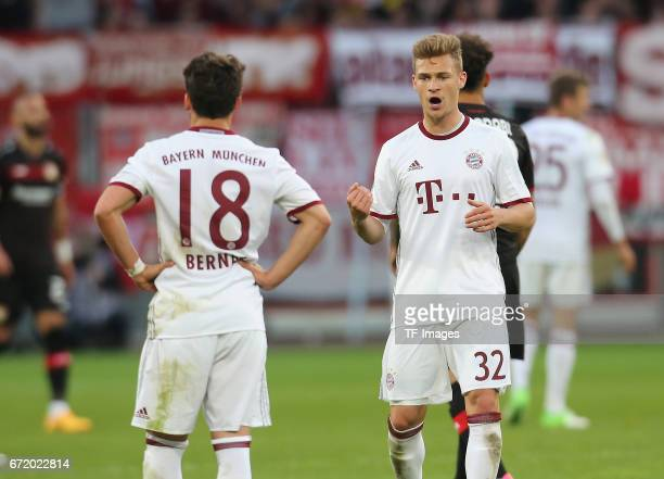 Joshua Kimmich of Munich looks on during the Bundesliga match between Bayer 04 Leverkusen and Bayern Muenchen at BayArena on April 15 2017 in...