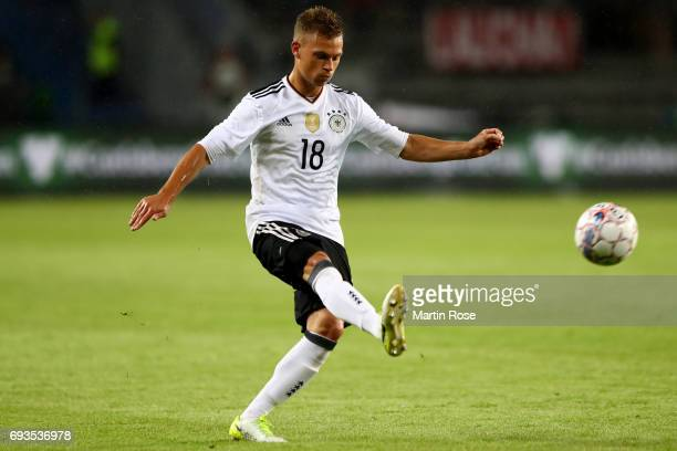 Joshua Kimmich passes the ball during the International Friendly match between Denmark and Germany at Brondby Stadium on June 6 2017 in Brondby...
