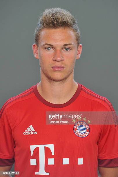 Joshua Kimmich poses during the team presentation of FC Bayern Muenchen at Bayern's training ground Saebener Strasse on July 16 2015 in Munich Germany
