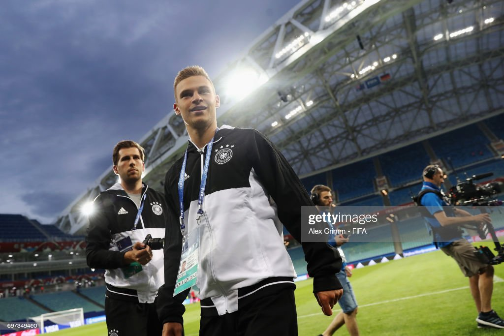 Joshua Kimmich walks on the pitch during a Germany training session during the FIFA Confederations Cup Russia 2017 at Fisht stadium on June 18, 2017 in Sochi, Russia.