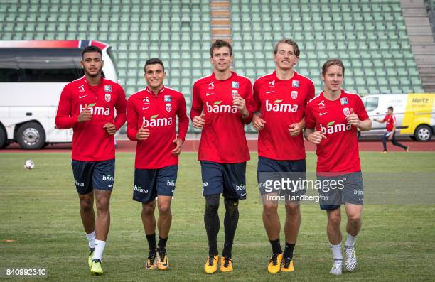 Joshua King Mohamed Elyounoussi Rune Jarstein Sander Berge Stefan Johansen of Norway during the FIFA 2018 World Cup Qualifier training between Norway...