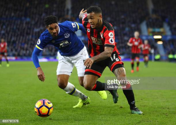 Joshua King of AFC Bournemouth attempts to take the ball past Ashley Williams of Everton during the Premier League match between Everton and AFC...