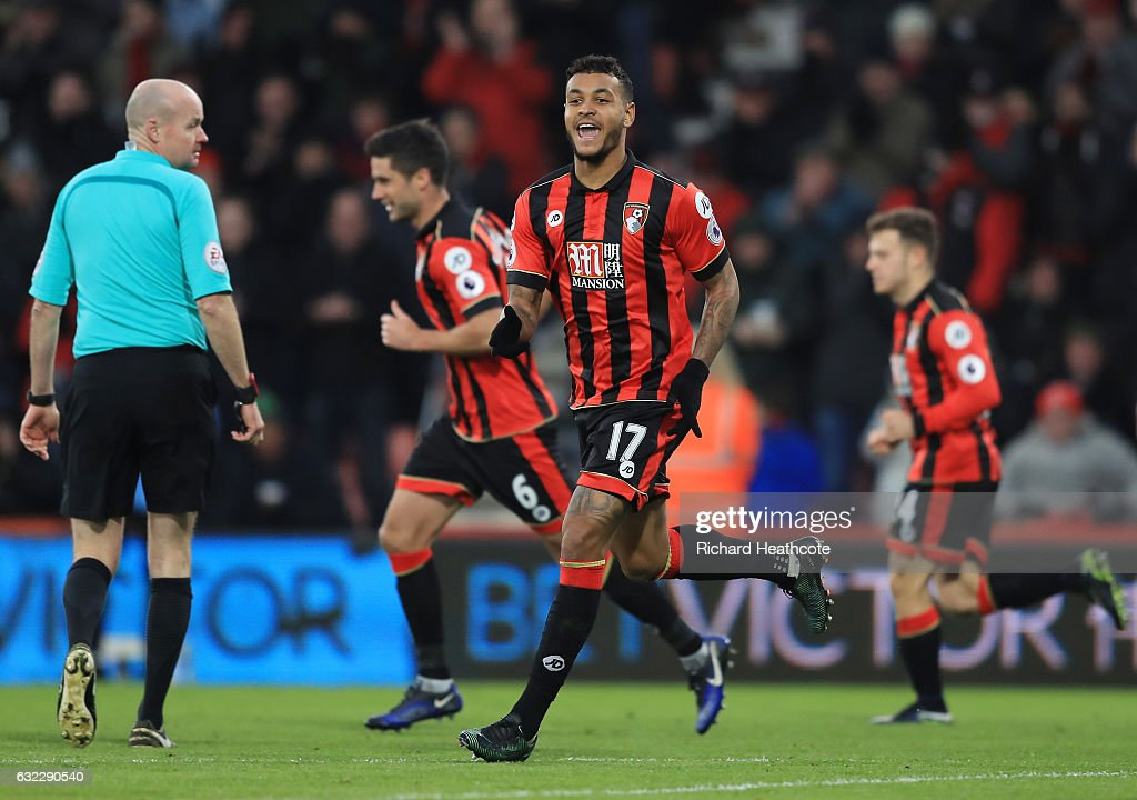 Joshua King of AFC Bournemouth celebrates scoring his sides first goal during the Premier League match between AFC Bournemouth and Watford at Vitality Stadium on January 21, 2017 in Bournemouth, England.
