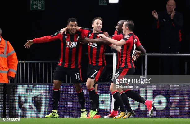 Joshua King of AFC Bournemouth celebrates scoring his sides first goal with team mates during the Carabao Cup Third Round match between AFC...