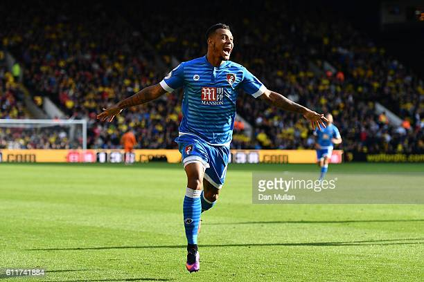 Joshua King of AFC Bournemouth celebrates scoring his sides second goal during the Premier League match between Watford and AFC Bournemouth at...