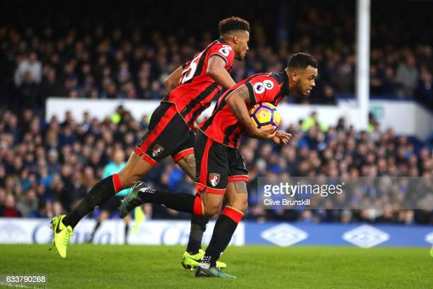 Joshua King of AFC Bournemouth celebrates scoring his sides second goal during the Premier League match between Everton and AFC Bournemouth at...