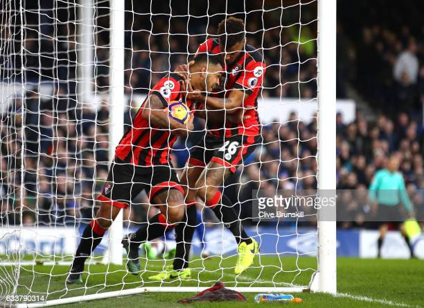 Joshua King of AFC Bournemouth celebrates scoring his sides second goal with Tyrone Mings of AFC Bournemouth during the Premier League match between...